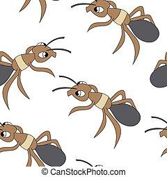 seamless, carino, vettore, ants., modello