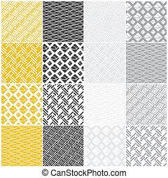 seamless, carrés, lignes, vagues, patterns:, géométrique