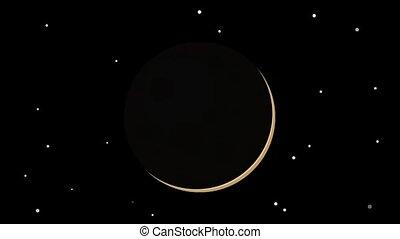 Seamless cartoon animation of moon phases and shining stars...