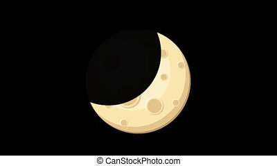 Seamless cartoon animation of moon phases. Earth shadow ...