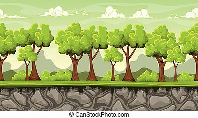 Seamless cartoon background for game design, vector illustration with separate layers