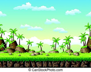 Seamless cartoon background. Vector illustration with separate layers.