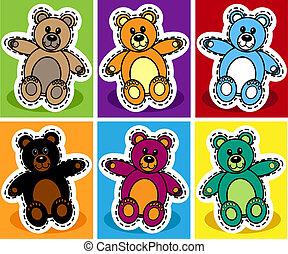 Seamless cartoon bear patchwork