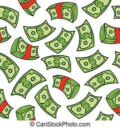 A seamless pattern of cartoon American bills.