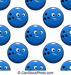 Seamless cartoon blue bowling ball characters pattern
