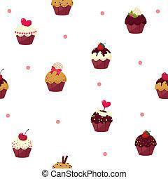 seamless cartoon cake pattern