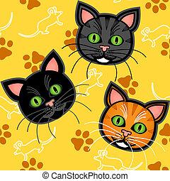 Seamless cartoon cat pattern over yellow