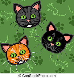 Seamless cartoon cat pattern