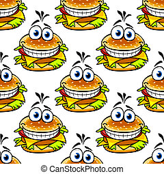 Seamless cartoon cheeseburger pattern with a double helping...