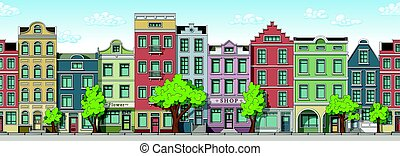 Seamless cartoon cityscape background