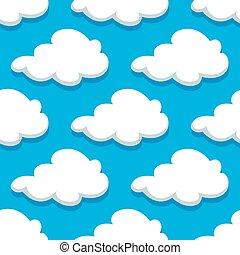 Seamless cartoon cloudscape pattern on blue background