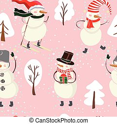 Seamless cartoon color pattern with winter trees, snowman in hat, ski and snowflakes on pink background.