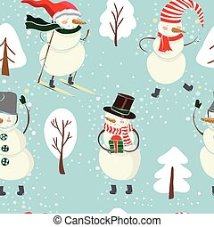Seamless cartoon color pattern with winter trees, snowman in hat, ski on blue background.