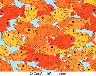 Seamless cartoon fish pattern