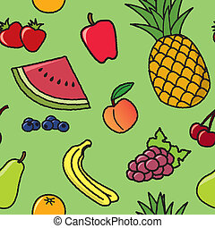 A seamless pattern of common fruit that would be found at most grocery stores.