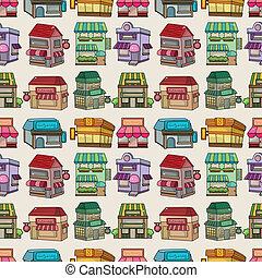 seamless cartoon house/shop pattern