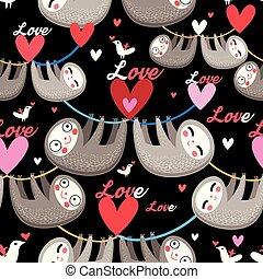 Seamless cartoon images of lovers lemurs pattern on dark...