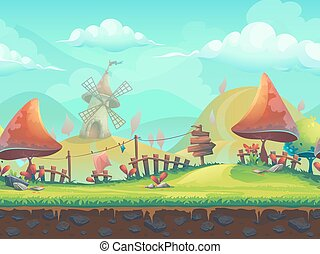 Seamless cartoon landscape with a trees