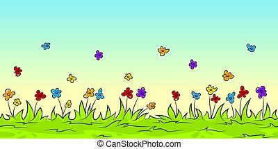 Seamless cartoon nature background with flowers