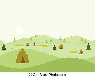 Seamless Cartoon Nature Landscape, Vector Illustration