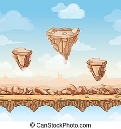 Seamless cartoon nature landscape with stones, rocks and bridges for game design. Vector illustration in separate layers