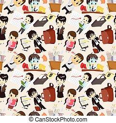 seamless cartoon office worker pattern
