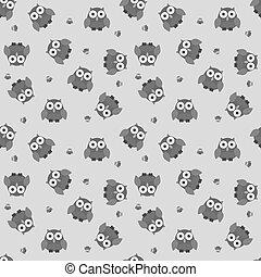 Seamless cartoon owl pattern in greyscale