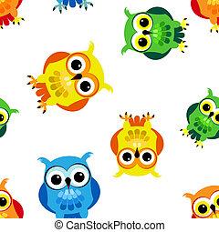 Seamless cartoon owls