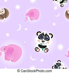 Seamless cartoon pattern with animals