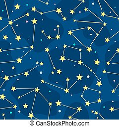 Seamless cartoon pattern with constellation