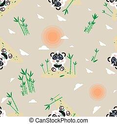 Seamless cartoon pattern with panda, the sun, bamboo