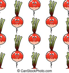 Seamless cartoon radish vegetable background