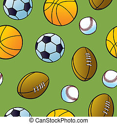 Seamless Cartoon Sports Ball Patter - Seamless cartoon balls...