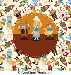 seamless cartoon story people pattern