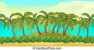 Seamless cartoon tropical landscape, unending background for game