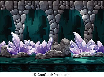 Seamless cartoon vector cave with separated layers for game...
