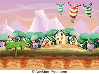 Seamless cartoon vector landscape with separated layers for...