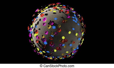 Seamless cartoony loop of a 3D fantasy Earth planet with flowers on it. 3D rendering