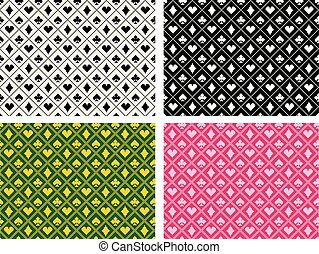 Seamless casino pattern in pixel batik art, vector