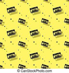 seamless, cassette, achtergrond, schaduw, audio, analogon