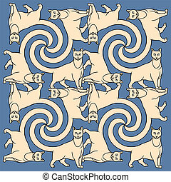 Seamless cat pattern - Cats  tessellation pattern