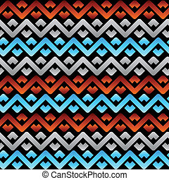 Seamless celtic linen pattern in tri-color over black