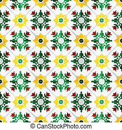 A seamless background image of patterned ceramic tiles for your design purposes.