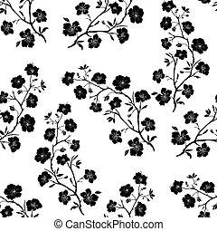 seamless., cereza, ramita, blossoms.