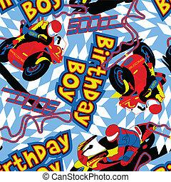 seamless, chłopiec, urodziny, motorower, próbka