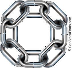 Seamless chain link border - Seamless metal chain link...