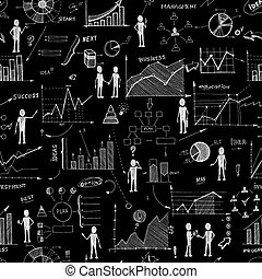 Seamless chalk board doodle web charts background vector...