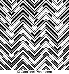 Seamless Chaotic Zig Zag Pattern. Abstract Monochrome...
