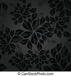 seamless, charbon de bois, feuilles, papier peint