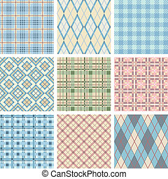Seamless Check Pattern Set. Illustration vector.
